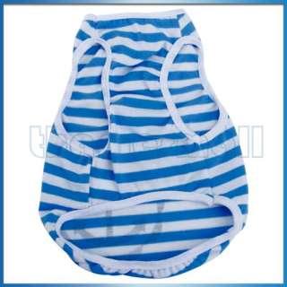 Pet Dog Vest T shirt Sailor Clothes Blue & White Strip