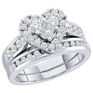 Heart Diamond Engagement Ring & Wedding Band 14k Yellow Gold (1.01 CT
