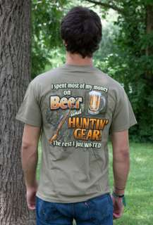 Buck Wear Beer And Hunting Gear Olive Brown Graphic Tee Shirt