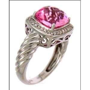 White Gold Diamond Ring Centered with 3.70 Carat Pink Stone Jewelry