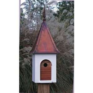 French Villa Bird House w Whie Brown Copper Roof Pe