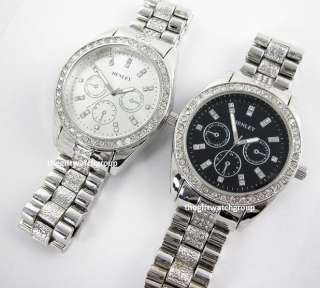 Henley Mens Real Crystal Bling Bracelet Watches Big Dial in Black or