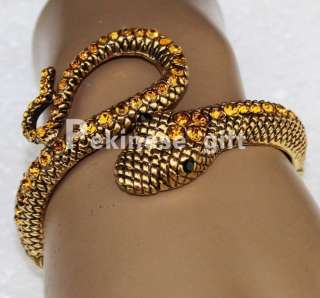 100% New Orange Swarovski Crystals Gold Snake Cool Bracelet Cuff