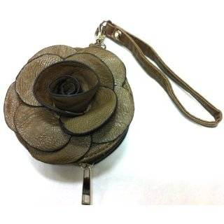 Designer Raised Flower Coin Purse Round shaped Pouch Bag Wristlet Rose