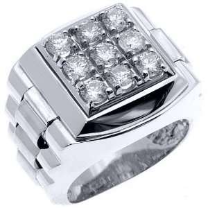 Mens Rolex Ring White Gold Square Diamond Ring 1.75 Carats