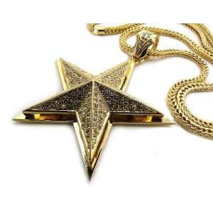 Iced Out 3D Pyramid STAR Pendant 36 Franco Chain Gold