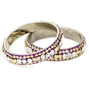 Chamak by priya kakkar 2 Zamni Crystal Bangle Bracelet Detailed Gold
