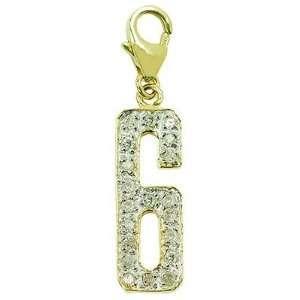 14K Yellow Gold Diamond 6 Charm: Jewelry