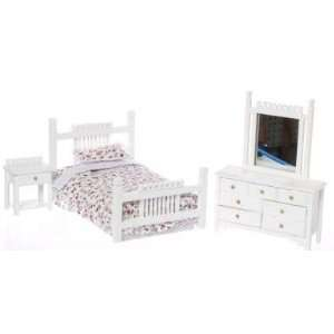 Dollhouse Miniature White Single Bedroom Set Everything