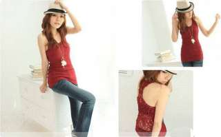 New Womens Fahsion Shirt Camisole Pierced Lace Top Hollow out Vest 2