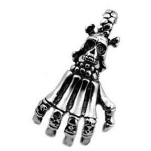 Skeletal Hand With Skull on Crossed bones (Chain not Included