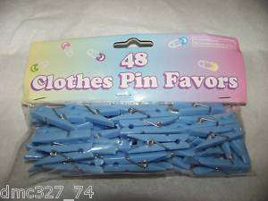 48 Baby Shower Favors SCATTERS CLOTHES PINS Blue Boy