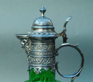 Emerald Green Bohemian Art Glass Ewer w/ Silver Plate Mount   Gorgeous