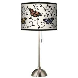 Butterfly Scroll Giclee Brushed Steel Table Lamp