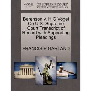 Berenson v. H G Vogel Co U.S. Supreme Court Transcript of