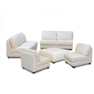 Diamond Sofa Zen Armless All Leather Tufted Seat Sofa, Loveseat and