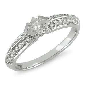 White Gold Diamond Engagement Ring, (.5 cttw G H Color, I1 I2 Clarity