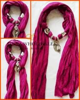 Ladys Rhinestone Jewelry Necklace scarves Cotton Shawl Wrap Leaf