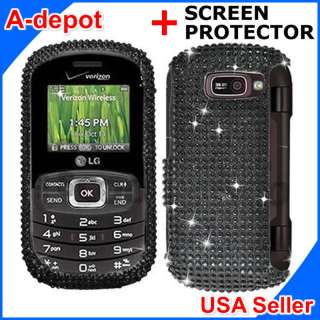 LG Octane VN530 Black Crystal Bling Diamond Hard Case Cover +Screen