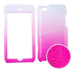 Apple iPod Touch 4 (iTouch) 3D Rain Drop Design, Hot Pink / White Snap