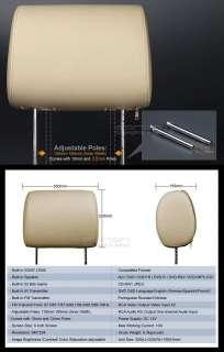 Pair 9 LCD Car Headrest DVD Player w/ TAN Beige Cover Eonon C1006