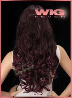 Long Curly Burgundy Hair Wigs 8902