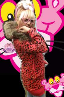 Pink Panther Eskimo Faux Fur Hooded LEOPARD Jacket Coat