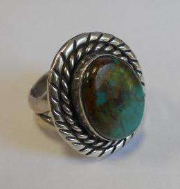 SIGNED WB NATIVE AMERICAN STERLING RING, TURQUOISE STONE S 9 B