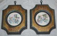 VTG PAIR of CHERUB PICTURES Prints Chic n Shabby Angels Wood Frames