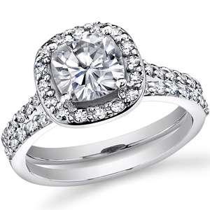 7mm Cushion Halo Moissanite Engagement Ring set 2.5ct