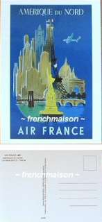 AIR FRANCE French Postcard Eiffel Tower+Statue Liberty