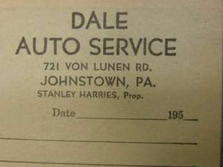 Oil GAS SERVICE STATION JOHNSTOWN PA 1950 RECEIPT BOOK NOS dale auto