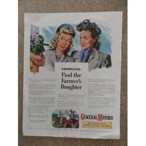 General Motors ,Vintage 40s full page print ad (3 women