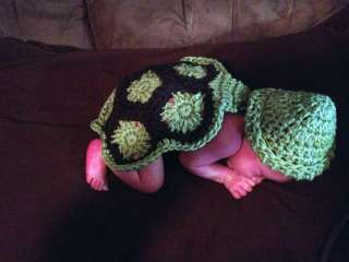 Newborn baby CUTE GREEN AND BROWN TURTLE HAT AND SHELL CROCHET photo