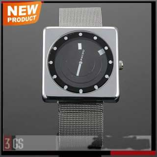 Unique Black Silver Mens Stainless Steel Quartz Wrist Watch