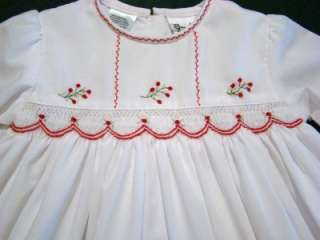 SARAH LOUISE 6M SMOCKED WHITE DRESS W/RED FLORAL EMBROIDERY
