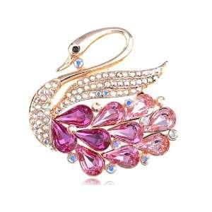 Rose Golden Tone Light Fuchsia Swarovski Crystal Element Lifted Swan