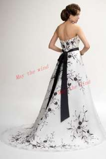 Bridal gown Embroidery party formal White Wedding dress ball black