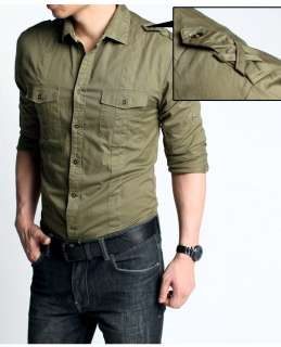 Mens Military Style Shirt / Slim Fit Casual Shirt / 100% Cotton Army