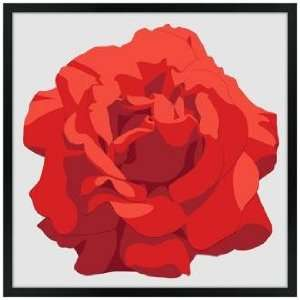Perfect Red Rose 26 Square Black Giclee Wall Art