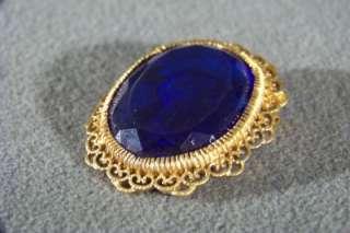 ANTIQUE FANCY COBALT BLUE GLASS ROMAN CAMEO FANCY FILIGREE HUGE OVAL