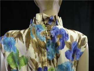 Jessica Howard Floral Dress Cocktail Brown Green Blue Size 6P, 8P, 18W