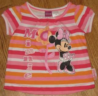 Disney Minnie Mouse Pink Orange Baby Infant Girls T Shirt Size 3