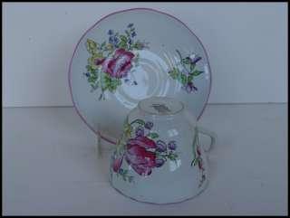 Vintage Copeland Spode Cup Saucer MARLBOROUGH SPRAYS PINK TRIM tulip