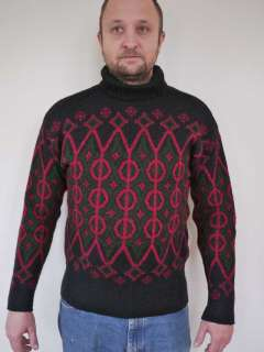 Vtg 50s Norweigan Norway JANUS 100% WOOL Ski Sweater