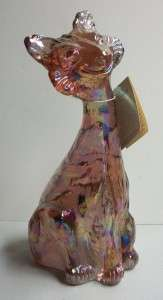 Fenton Glass Pink Rose Iridescent Carnival Glass Alley Cat 90s Hand