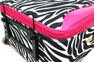 Piece Zebra Print Suitcase Set Luggage Hot Pink Trim