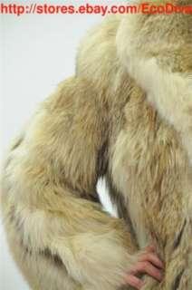FAB CANADIAN ARCTIC WOLF COYOTE & FOX FUR COAT JACKET M L