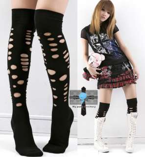 BEST Visual Kei Smash BROKEN Rock Emo Knee Hi Socks
