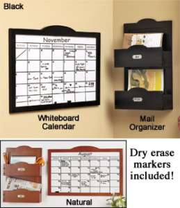 Wooden Wall Calendar Dry erase Board and Mail Organizer